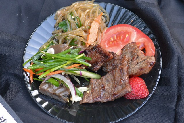 Star King BBQ piedmontese marinated short rib, acorn jelly salad, sweet potato noodles with veggies
