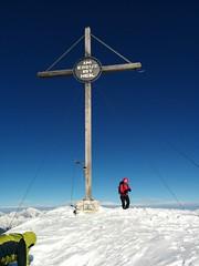 """Gipfelkreuz Dürrenstein mit der Aufschrift """"Im Kreuz ist Heil"""""""