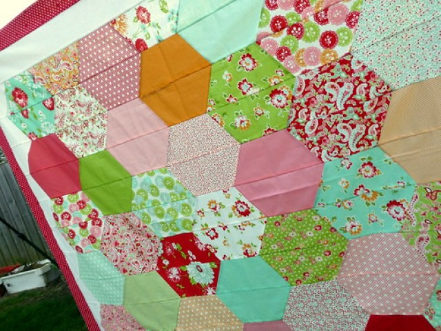 Rosie's Half Hexie quilt top