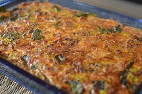Crustless bacon & zucchini quiche
