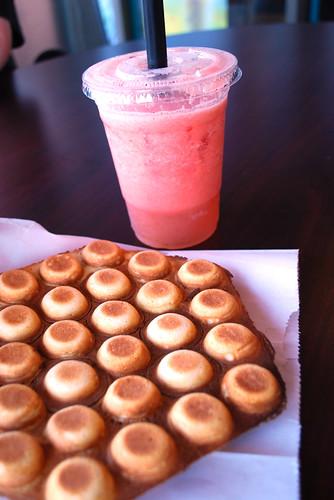 Egg Waffle + watermelon drink