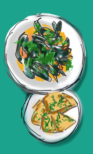 Coconut spiced mussels with toasted herby naan