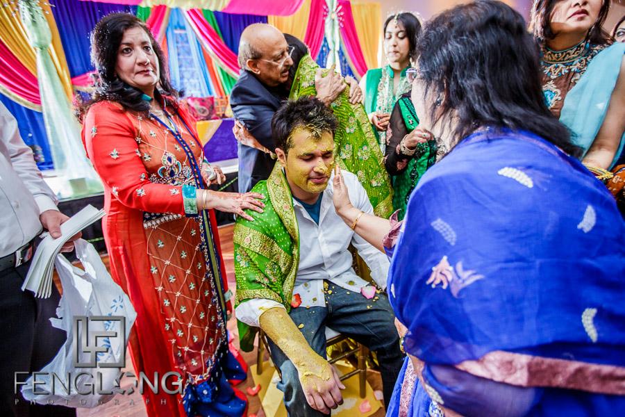Ismaili Indian groom during pithi ceremony