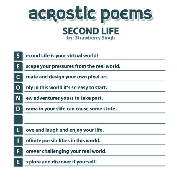 Acrostic Poem: Second Life