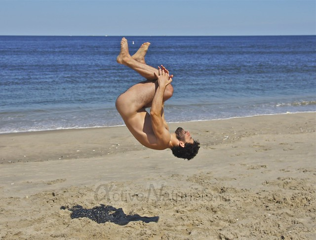 naturist 0006 gymnastics @ Gunnison Beach, Sandy Hook, NJ, USA