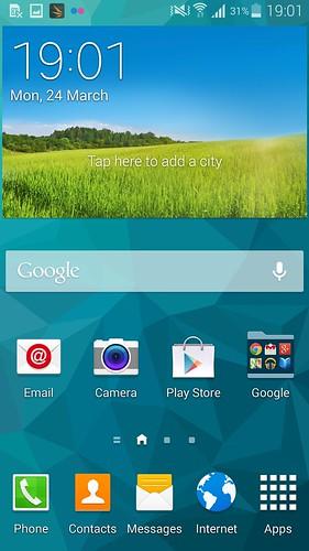 Home screen ของ Samsung Galaxy S5