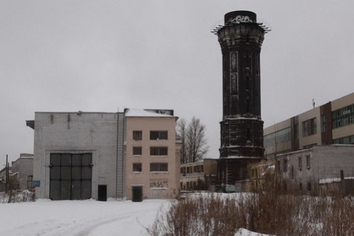 Abandoned locomotive workshops and water tower