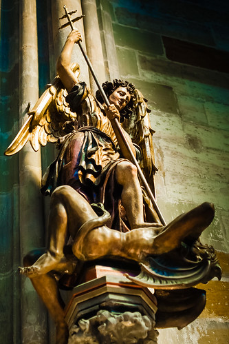 St Vitus Cathedral. Prague Castle, St Michael Statue fighting Devil
