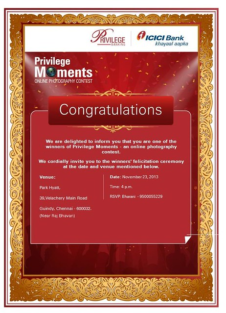 ICICI Privilege Moments Award