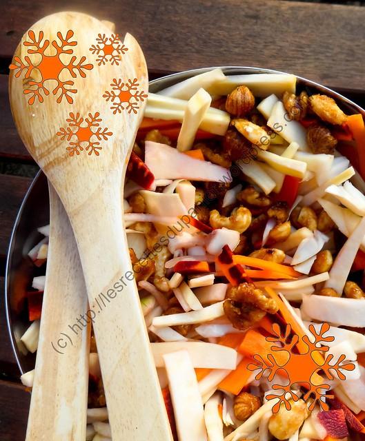 Salade festive de légumes racines aux noix caramélisées / Festive Salad of Root Vegetables with Caramelized Nuts