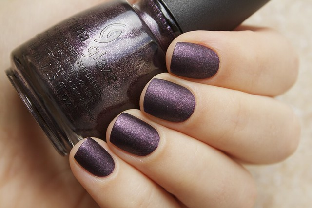 05 China Glaze Autumn Nights Rendezvous With You with Matte Magic Topcoat