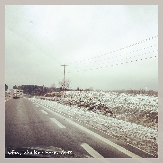 Oct 27 - I dislike {snow in October; this was the highway on my way to my mom's yesterday} #photoaday #driving #snow #toosoon
