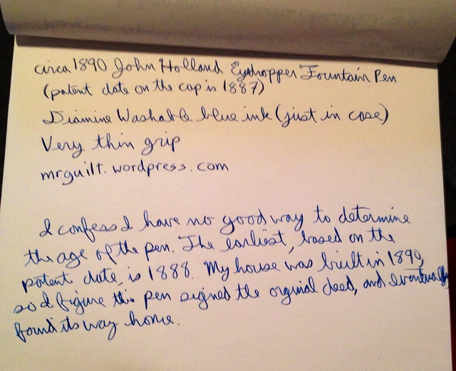 1890 John Holland Writing Sample