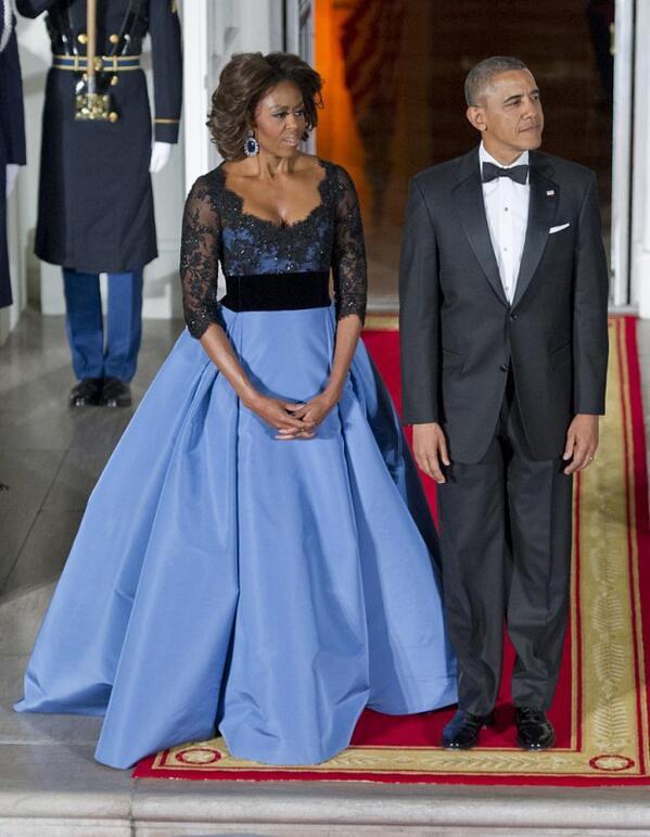 Michelle Obama In Venezuelan-American designer dress