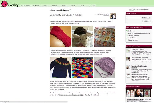 Ravelry's home page on March 3rd featuring my Solid Granny Square Afghan!