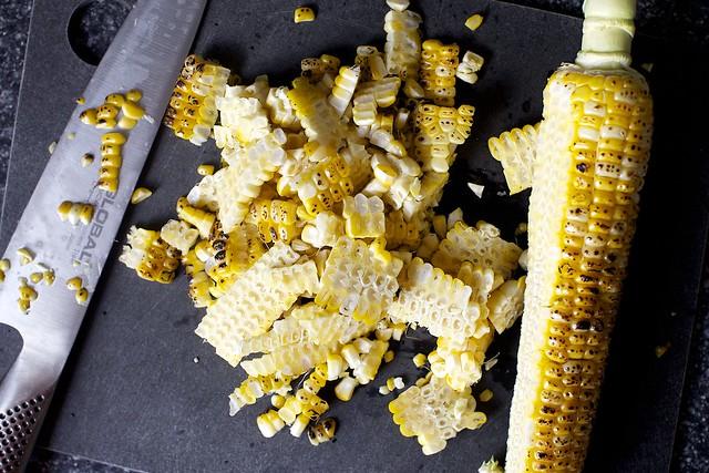 de-cobbing the charred corn