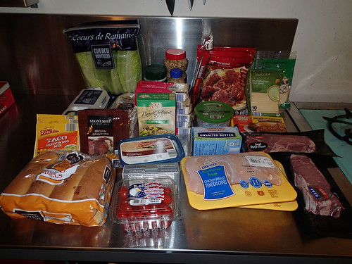 all the ALDI groceries -- $65 worth -- fit comfortably into the metal milkcrate bag