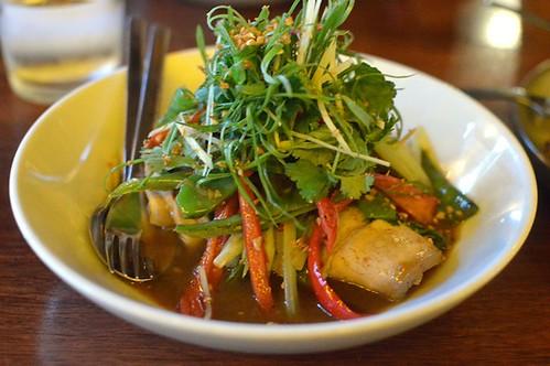 Stir fried pork belly, Szechuan pepper, Asian celery, chilli, ginger