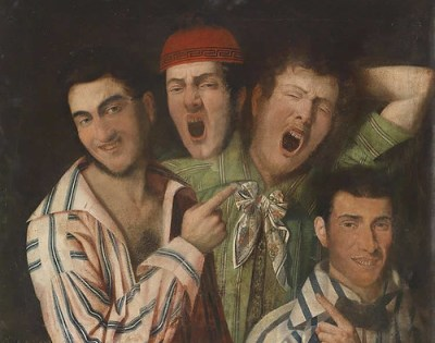 This is a painting of men yawning.