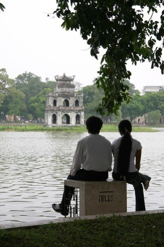 Looking over Hoan Kiem Lake, Hanoi, Vietnam