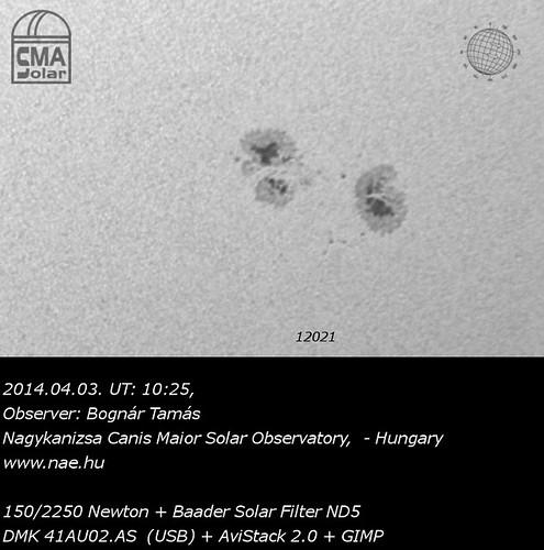 Sunspots - AR12021 - 2014.04.03. - Bognár Tamás