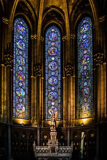 Notre Dame De La Treille, Lille, France.  Stained glass.  Chapel of St. Jean D'Arc,