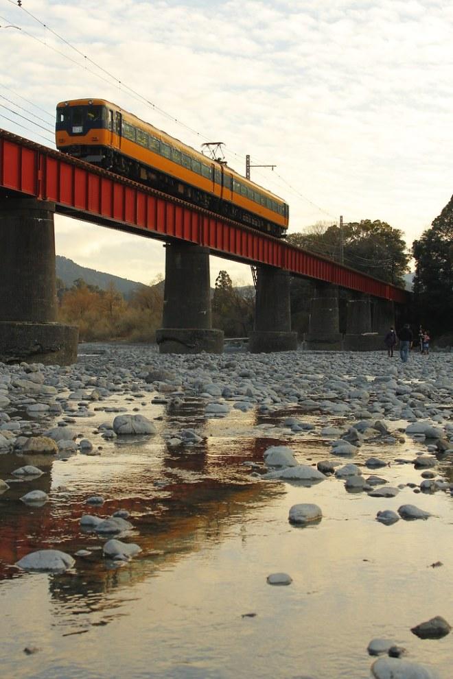 大井川と家族を見下ろして