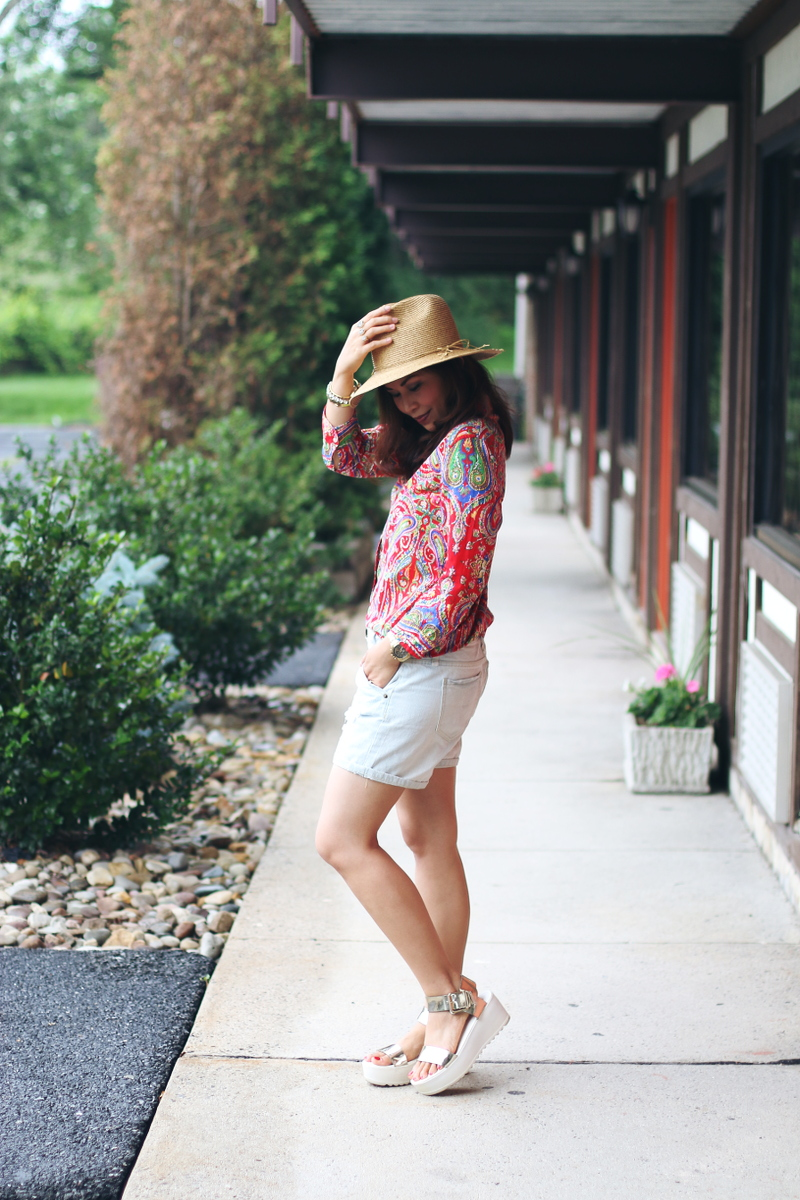 Paisley-button-down-shirt-denim-cutoffs-outfit-2