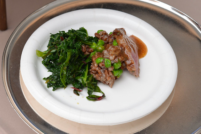 THE Blvd at Beverly Wilshire Hotel texas ranch antelope, red rice & kale salad, soy ponzu dressing