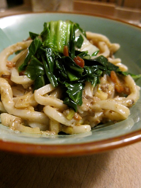 Homemade Udon Noodles with Asian Greens