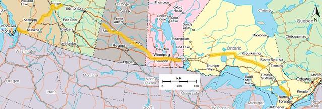 Vancouver to Toronto Map