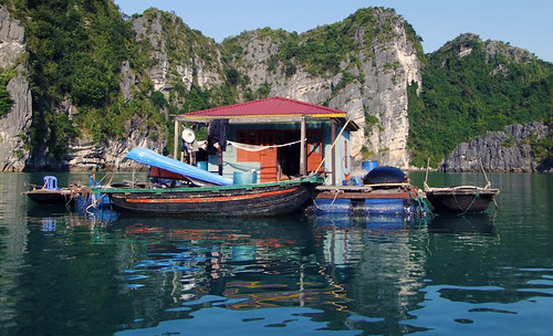 Fishing village in Ha Long Bay in Vietnam