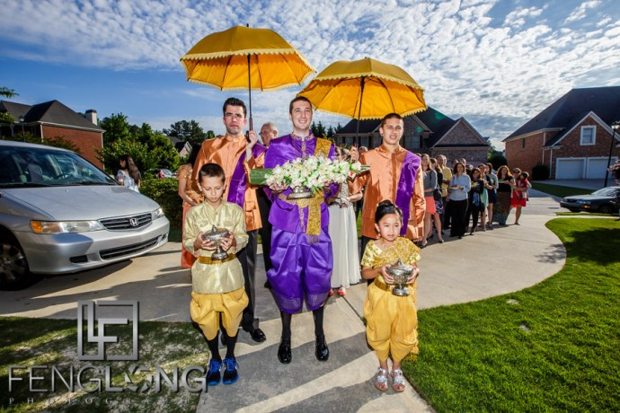 Groom's entrance during Cambodian wedding ceremony