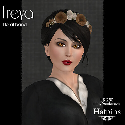 Hatpins - Freya Flora Band - Fawn and Ivory