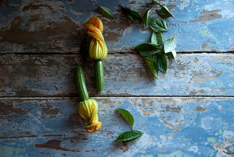 Flor de courgette e manjericão-canela