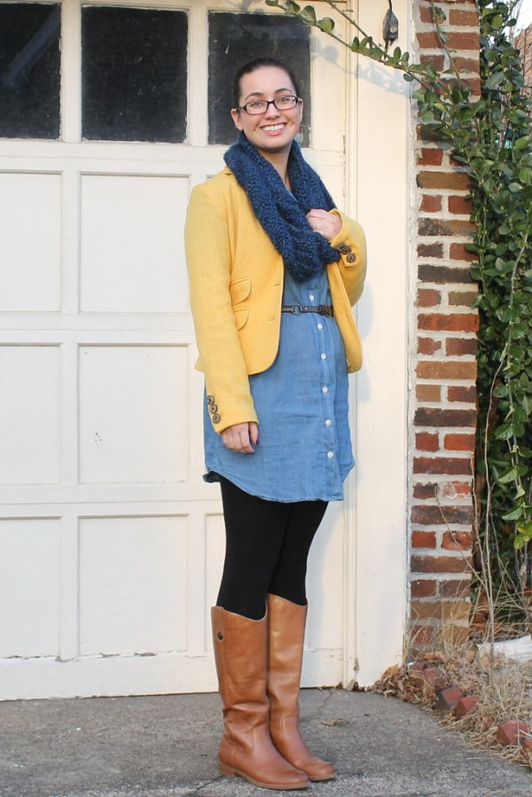 Blazer and Chambray Dress