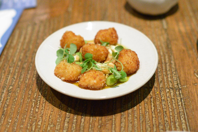 Fried Bay Scallops, Roulade