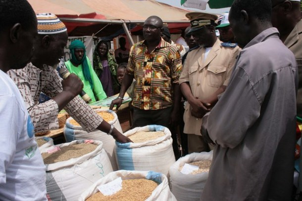 The Prefect of Bougouni visiting the stalls at the agriculture input fair in Sikasso region, Mali (Photo credit: ICRISAT / Agathe Diama)
