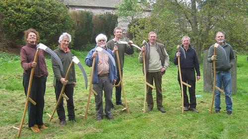 Learn to Mow with an Austrian Scythe students