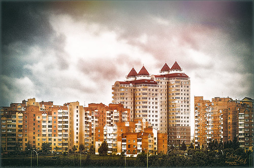 Image of buildings in Minsk, Belarus, using several filters and presets