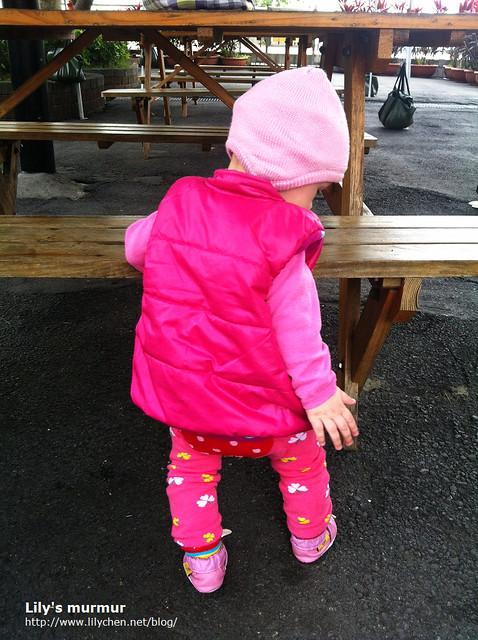 這一天把小妮打扮成小粉紅,這時她還不會走,但是可以扶著戶外的座椅站著,媽媽不用一直抱著輕鬆了點。