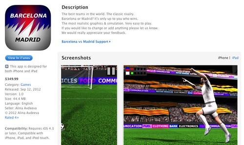 Barcelona vs Madrid บน iOS สนนราคา $349.99
