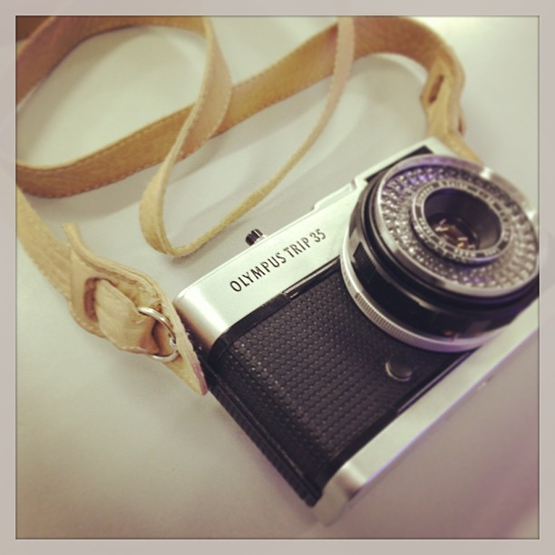 DIY leather strap + Olympus Trip35