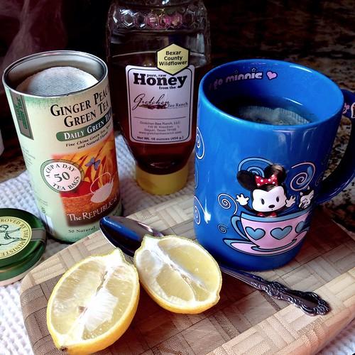 Hot tea with lemon and honey
