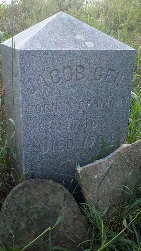 Jacob Geil, 1746-1794, born in Germany, died in Broadway, Virginia, tombstone 1913, photo in 2013 by MennoniteArchivesofVirginia