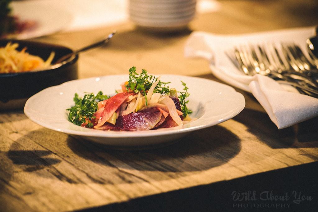 beet, carrots, and red daikon salad