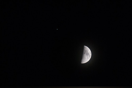 Moon and Spica by rbabiera