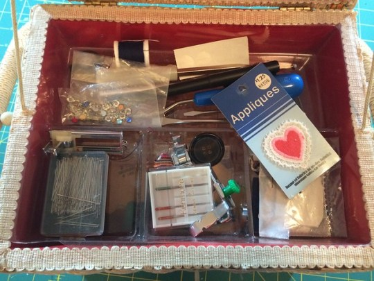 the inside of my gramma's sewing box