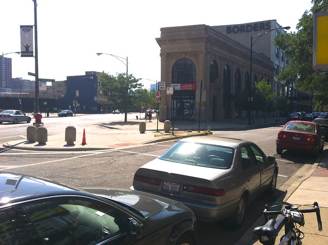 Potential future site of pedestrian space on Racine/Broadway