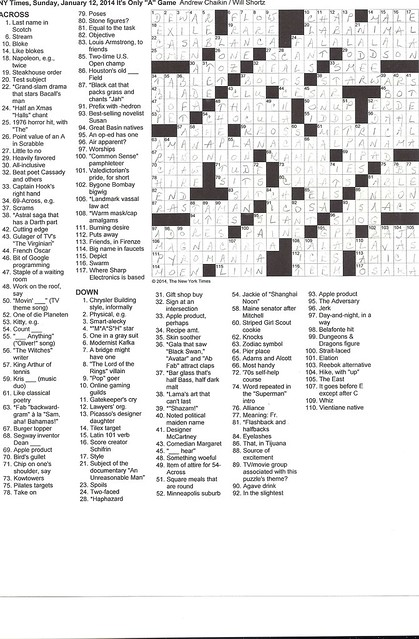 NYT Sunday Puzzle - January 12, 2014